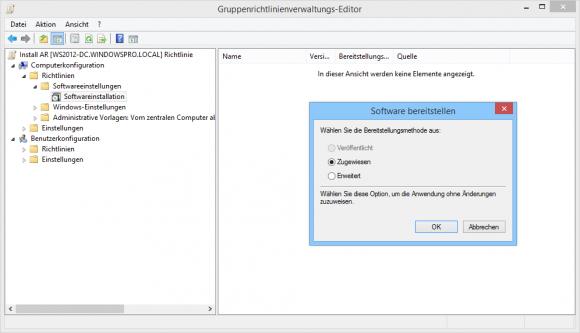 GPOs bieten zwei Verfahren zur zentralen Installation von Software.