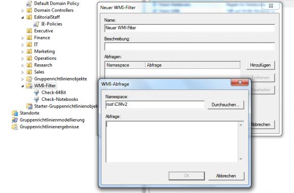 Beim Erstellen eines neuen WMI-Filters muss man eine WQL-Abfrage formulieren.