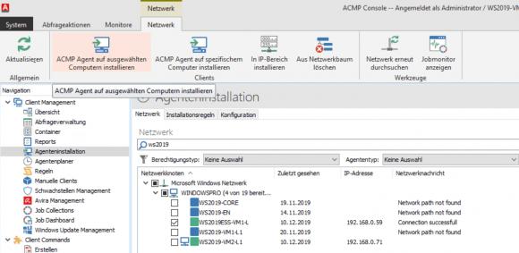 Der ACMP-Agent kann von der Konsole aus auf die Zielrechner installiert werden.