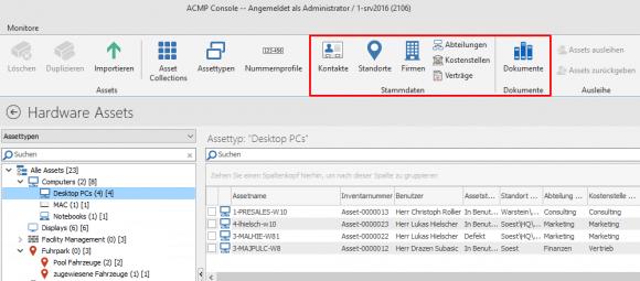 ACMP kann einem Asset einem Benutzer, einer Abteilung oder einem Standort zuordnen.