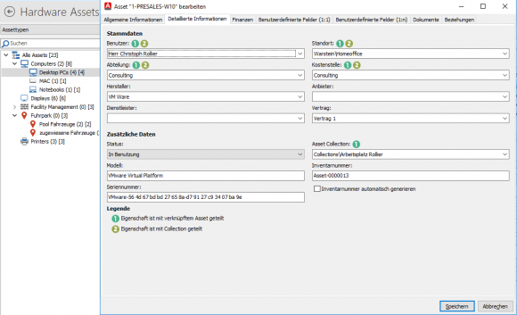 Asset-Details für einen Desktop-PC