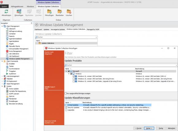 Collections sind quasi Update-Profile, für die man Produkte und Klassifizierungen auswählt.