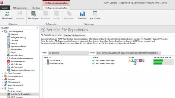 Rechner in Niederlassungen können ihre Updates von File Repositories vor Ort beziehen.