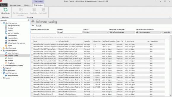 Der Software-Katalog deckt den Großteil der existierenden Standardprodukte ab.