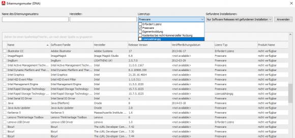 Der Katalog teilt die Software unter anderem auch nach ihrem Lizenztyp ein.