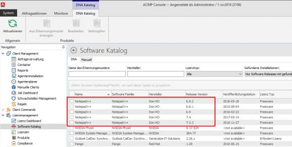 Mit Hilfe des Katalogs lassen sich die installierten Versionen einer Software ermitteln.