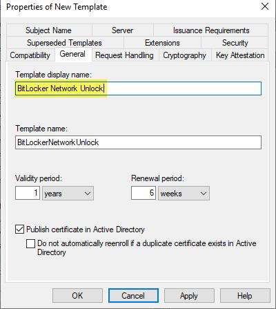 """Nach dem Duplizieren der Vorlage """"User"""" das Template """"BitLocker Network Unlock"""" anpassen"""