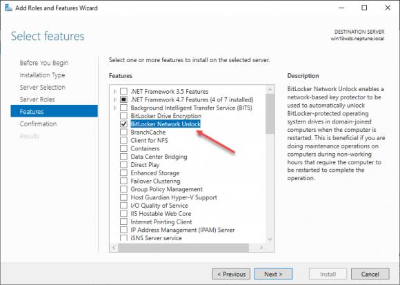 Das Feature BitLocker Network Unlock über den Server Manager hinzufügen