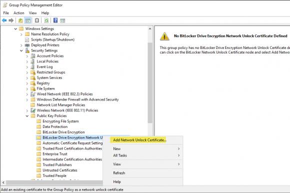 Auswählen des vom WDS-Server exportierten Netzwerkentsperrungszertifikats