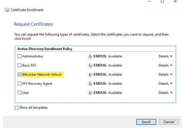 Auswählen von BitLocker Network Unlock unter Active Directory Enrollment Policy.