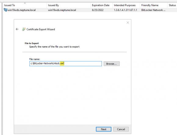 Export des Zertifikats aus dem persönlichen Speicher des aktuellen Benutzers.