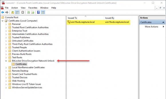 Import der PFX auf dem WDS-Server unter dem Knoten für Computer-Zertifiakte