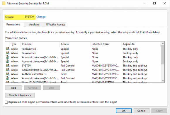 Registry-Key, der dem SYSTEM-Konto gehört