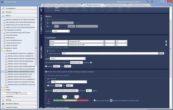 Im Finder können neue Metriken für Verstöße definiert werden, etwa für alle Windows-Clients mit veralteter Antivirus-Software.