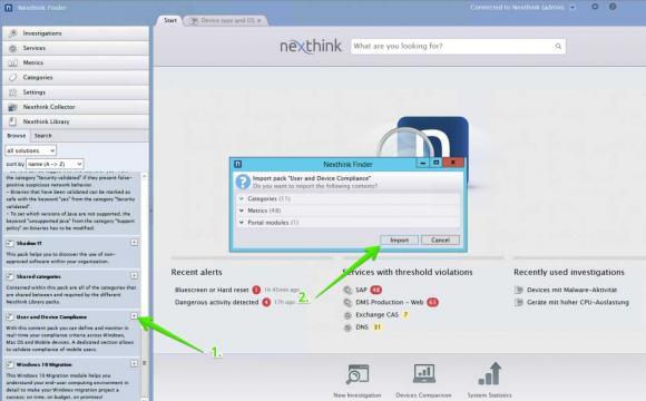 Die Nexthink Analyse-Werkzeuge können jederzeit um eigene Regeln und Metriken erweitert werden.