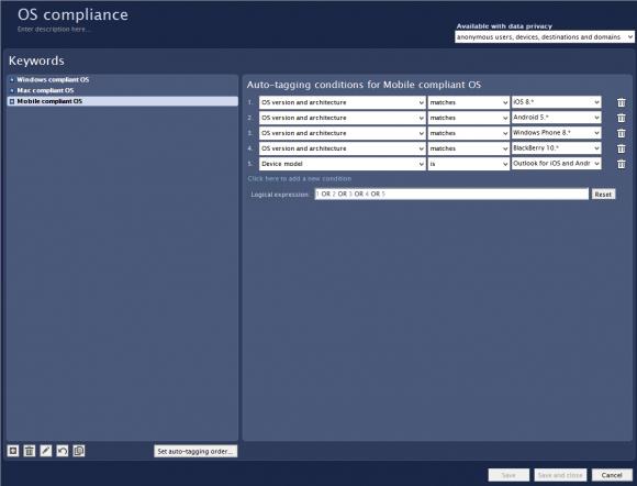 Im Nexthink Finder legt der Administrator die im Netzwerk zugelassenen Betriebssysteme fest.