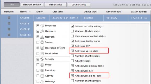 Nexthink identifiziert die auf den Clients installierte Security-Software und deren Zustand.