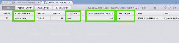 Der Nexthink Finder liefert Informationen über den Schädling und die Bedrohungslage.