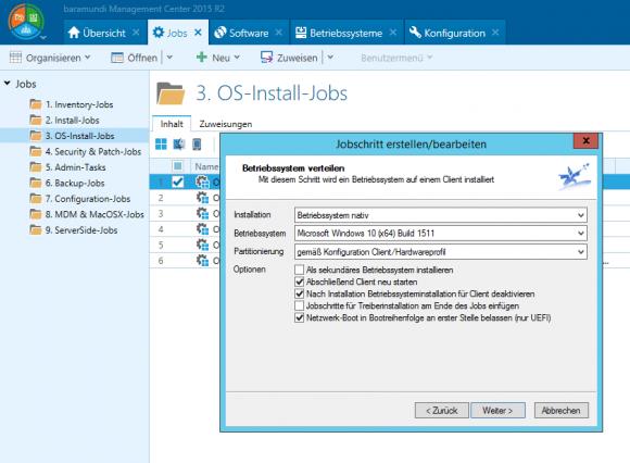 Das Ausrollen von Betriebssystemen wird in baramundi über Jobs gesteuert.