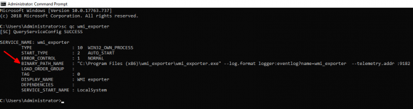 Display parameters of the exporter service with sc.exe