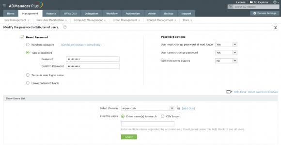 Gängige Aufgaben wie das Zurücksetzen von Passwörtern lassen sich über die Web-Konsole von ADManager Plus erledigen.