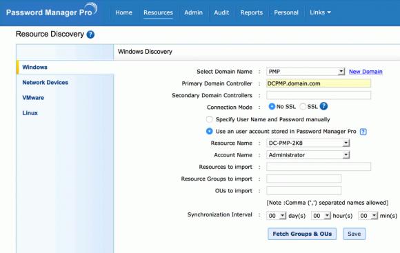 Password Manager Pro findet selbständig privilegierte Konten im Netzwerk.