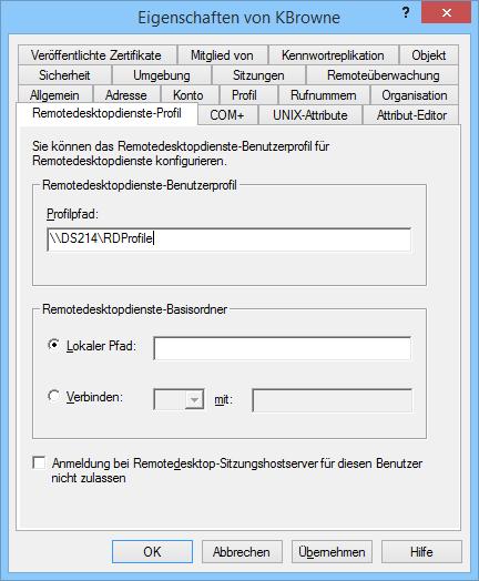 Der Pfad für Remotedesktop-Profile lässt sich in ADUC für jeden User einzeln eintragen.