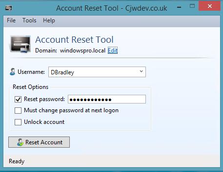 Das Account Reset Tool tut kaum mehr als der Name verspricht, dies aber ordentlich.