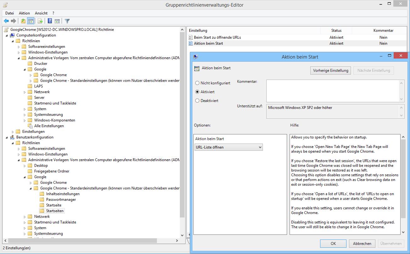 Google Chrome über GPOs konfigurieren: URLs, Erweiterungen und ...