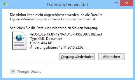 Windows blockiert gelegentlich Dateien, auch wenn man das zugehörige Programm schon geschlossen hat.