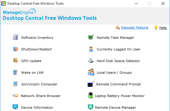 Desktop Central Free Windows Tools umfassen 14 Programme.