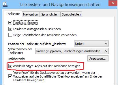 In den Eigenschaften der Taskleiste setzt man die Option 'Windows Store-Apps anzeigen' zurück.