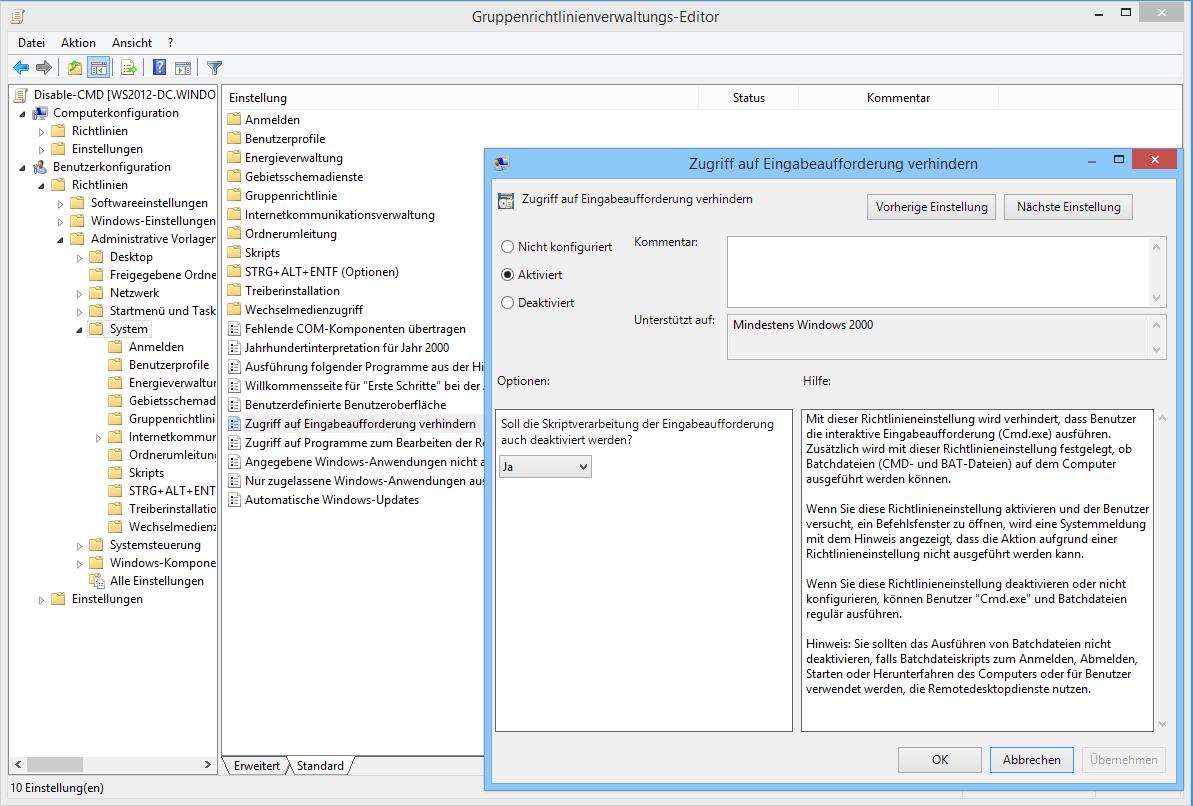 Eingabeaufforderung und Batch-Dateien über GPOs deaktivieren ...