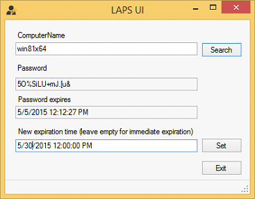 Die Fat Client UI dient dazu, die Admin-Passwörter für bestimmte PCs anzuzeigen.