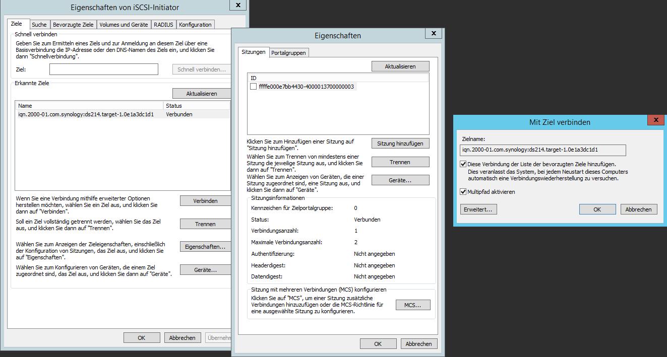 Multipath I/O (MPIO) für iSCSI-Storage konfigurieren