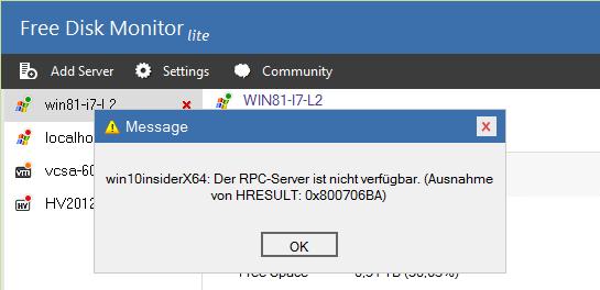 Der berüchtigte RPC-Fehler deutet auf ein Problem mit der Firewall.