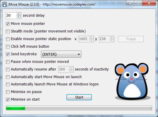 Move Maus bietet eine Reihe von Optionen, um die simulierten Mausaktivitäten zu steuern.