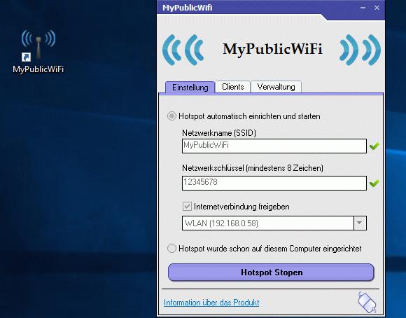 MyPublicWiFi erfordert administrative Rechte.