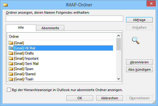 outlook imap alle mails