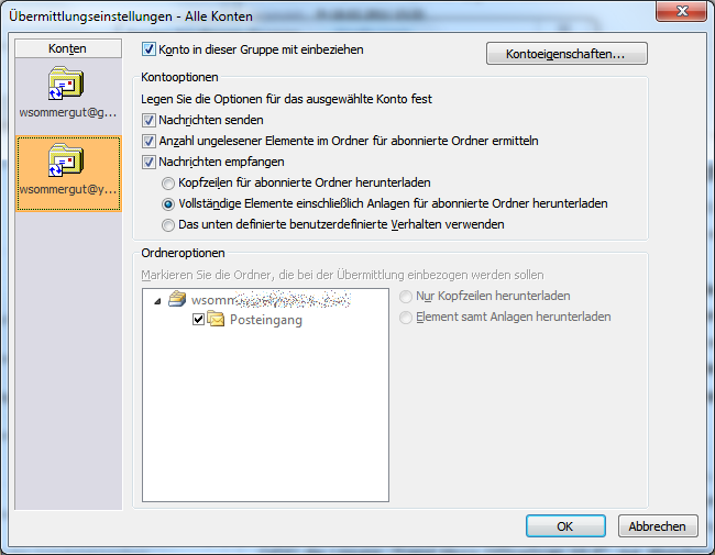 outlook imap mails komplett