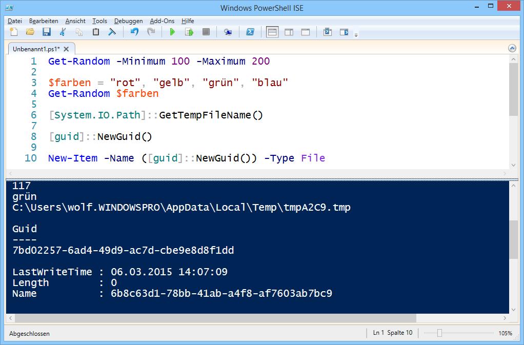 Zufallszahlen, temporäre Dateinamen und GUIDs erzeugen in PowerShell