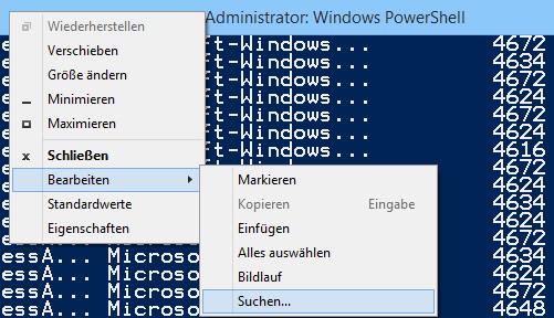 Den Pagern von PowerShell fehlt eine Suchfunktion, zur Not kann man jene des Konsolenfensters verwenden.