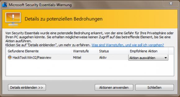Die Security Essentials blockieren die Ausführung von IE PassView.