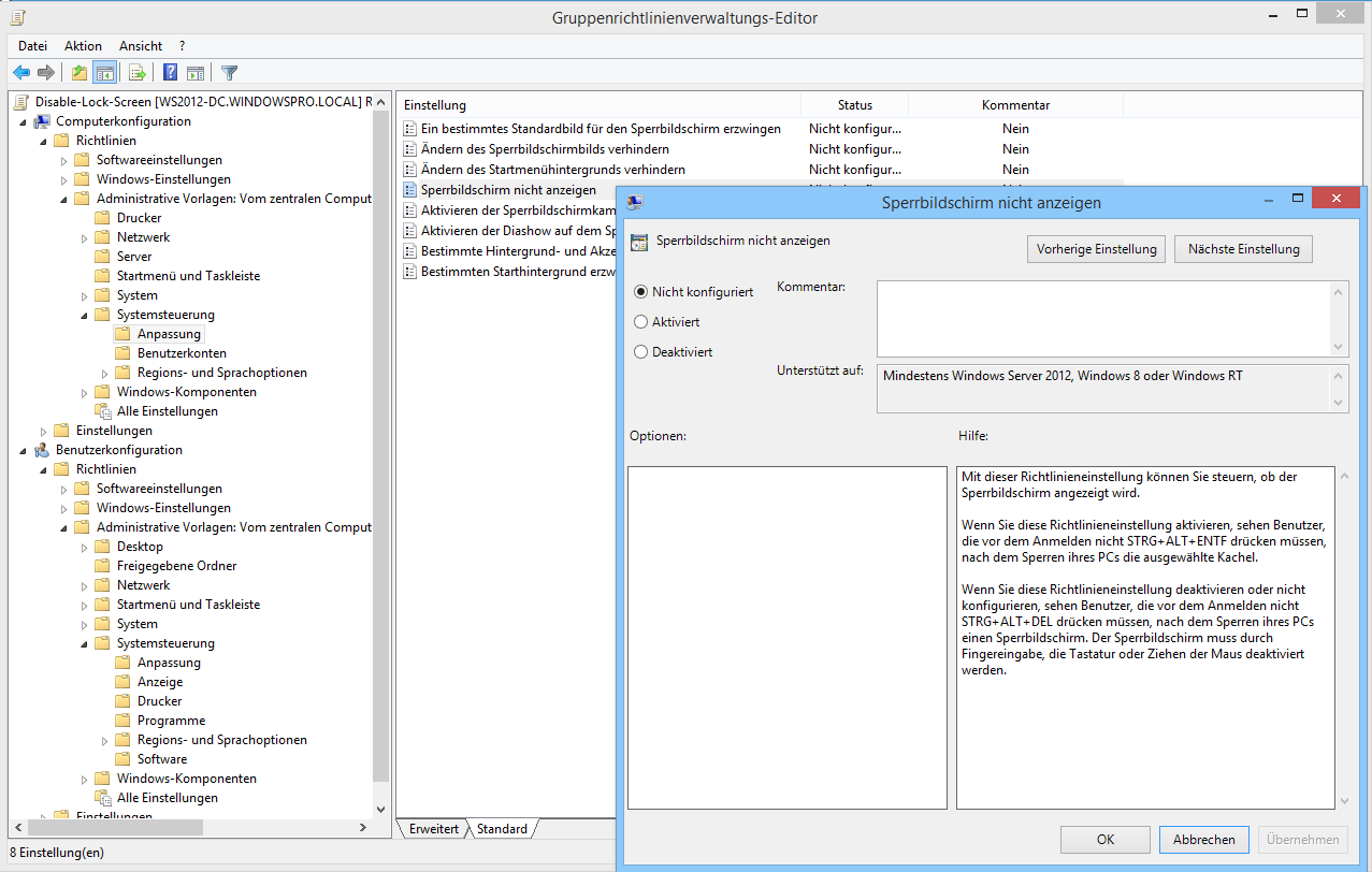 windows 10 sperrbildschirm deaktivieren ber registry. Black Bedroom Furniture Sets. Home Design Ideas