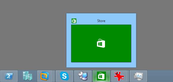 Store Apps tauchen nach dem Start als Icon in der Taskleiste auf, sind aber für den Benutzer nicht zugänglich.