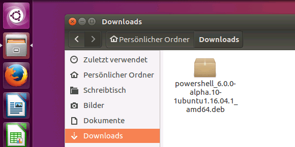 Installationspaket für PowerShell nach dem Download