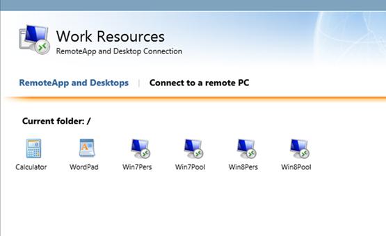 Die vom VDI Starter Kit eingerichteten virtuellen Desktops und RemoteApp.