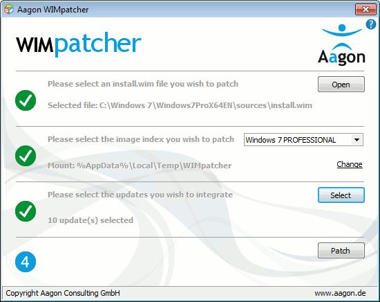 Das kostenlose WIMPatcher unterstützt alle Schritte für das Offline-Servicing von WIM-Abbildern.