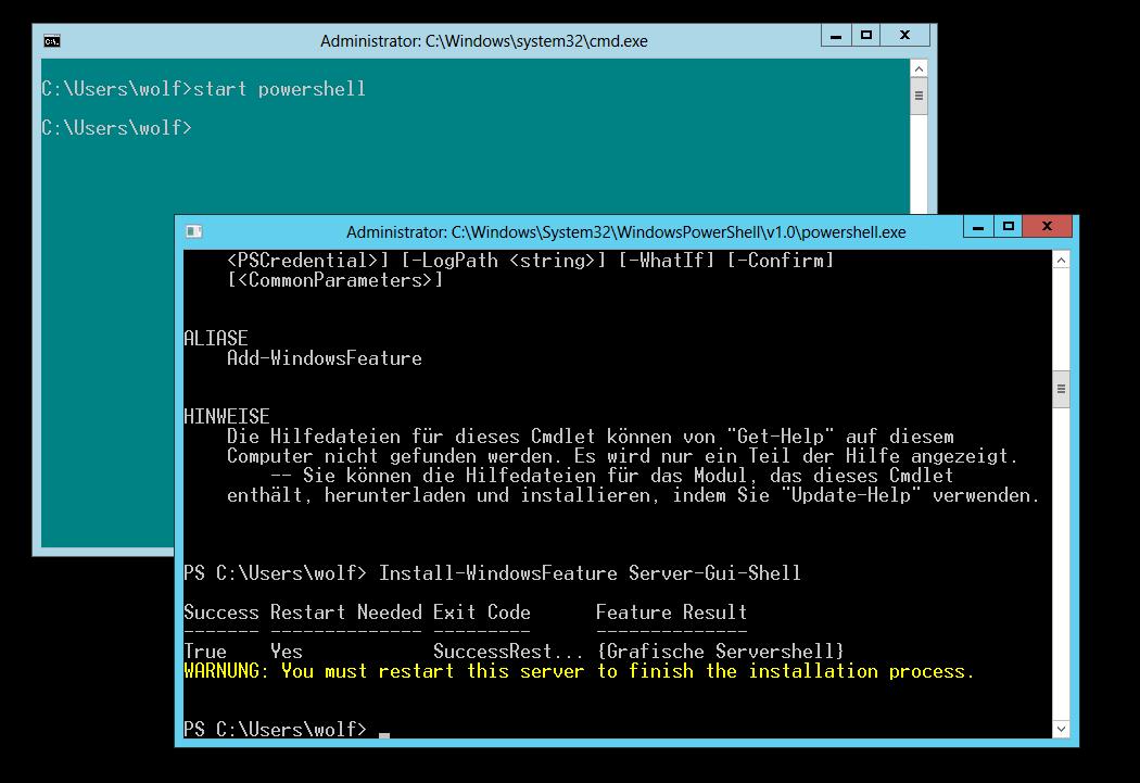 Zwischen Minimal Server Interface, Server Core und GUI umschalten ...