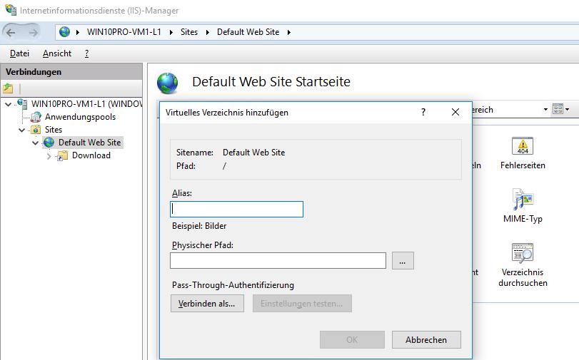 Web-Server (IIS) unter Windows 10 installieren und
